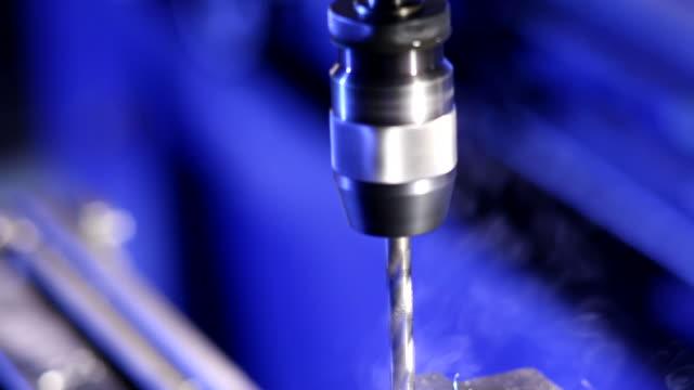 Close up shot of drill press video