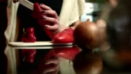 Close up shot of female hands slicing cutting up a pepper on the kitchen counter video