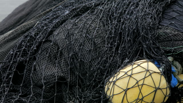 close up shot of fishing nets, static plan outdoor video