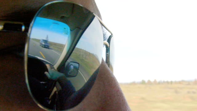 Close up shot of mans sunglasses video