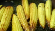 Close up shot of roasting small corn cobs video