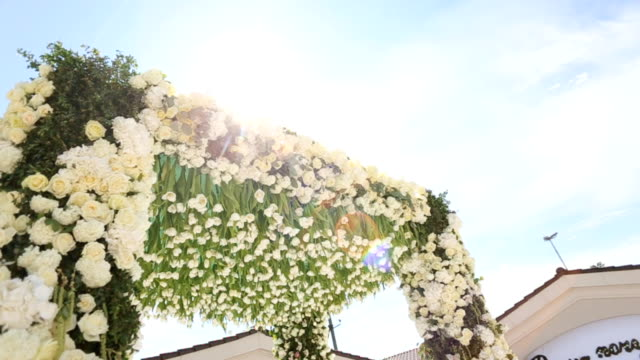 Close up shot of wedding arch decorated with white flowers on the sky background. Dolly shot. video