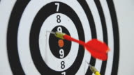 Close up shot of yellow and red dart arrow hit the dartboard video