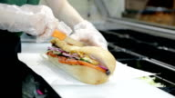 Close up shot the chief cook fastfood sandwich video