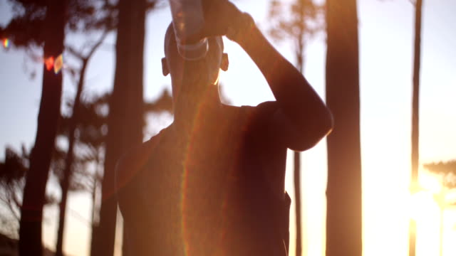 Close up shot with lens flare of afro-american athlete video