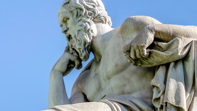 Close Up Statue of the Philosopher Socrates on Sky Background video
