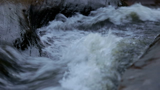 Close up to flowing water in nature. video