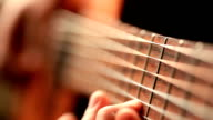 Close up video of guitarists hands macro video