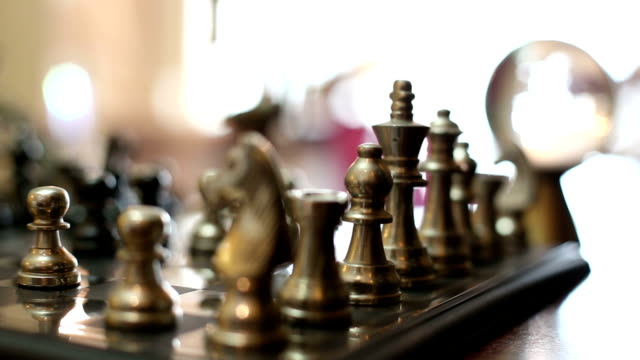 Close up view of Chess board, real time. video