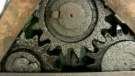 Close up view of gears from old mechanism video