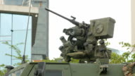 Close up view of the turret, armaments and gun video