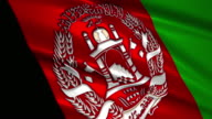 close up waving flag of Afghanistan,loopable video