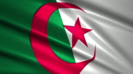 close up waving flag of Algeria,loopable video