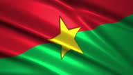 close up waving flag of Burkina Faso,loopable video