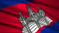 close up waving flag of Cambodia,loopable video