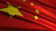 close up waving flag of China,loopable video