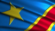 close up waving flag of Democratic Republic of the Congo,loopable video