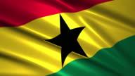 close up waving flag of Ghana,loopable video