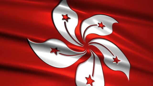 close up waving flag of Hong Kong,loopable video