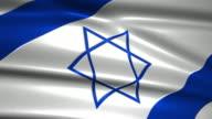 close up waving flag of Israel,loopable video