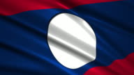 close up waving flag of Laos,loopable video