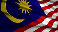 close up waving flag of Malaysia,loopable video