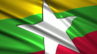 close up waving flag of Myanmar,loopable video