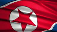 close up waving flag of North Korea,loopable video