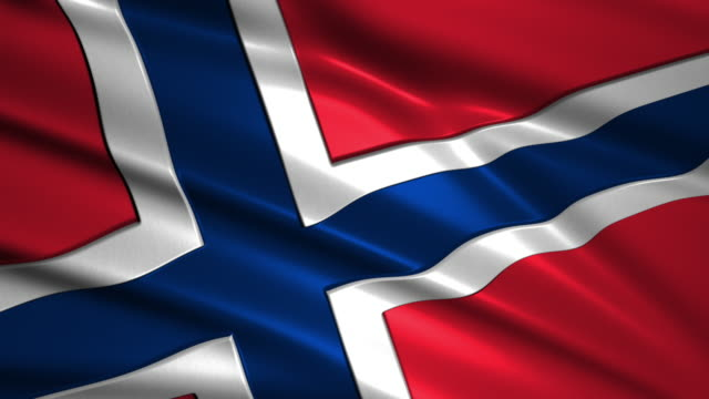 close up waving flag of Norway,loopable video