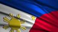 close up waving flag of Philippines,loopable video