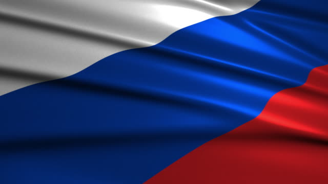 close up waving flag of Russia,loopable video