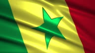 close up waving flag of Senegal,loopable video