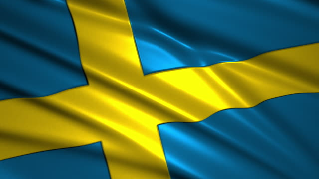 close up waving flag of Sweden,loopable video