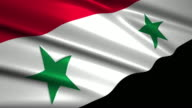 close up waving flag of Syria,loopable video