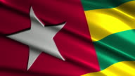 close up waving flag of Togo,loopable video