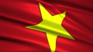 close up waving flag of Vietnam,loopable video