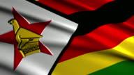 close up waving flag of Zimbabwe,loopable video