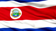 Close Up Waving National Flag of Costa Rica video