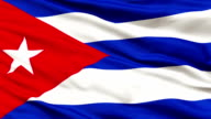 Close Up Waving National Flag of Cuba video