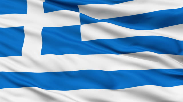 Close Up Waving National Flag of Greece video