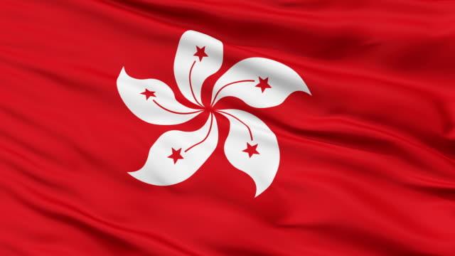 Close Up Waving National Flag of Hong Kong video