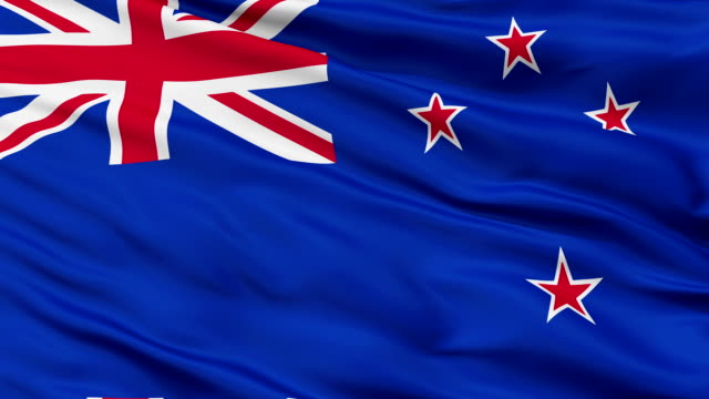 Close Up Waving National Flag of New Zealand video