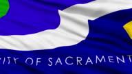 Close Up Waving National Flag of Sacramento City video