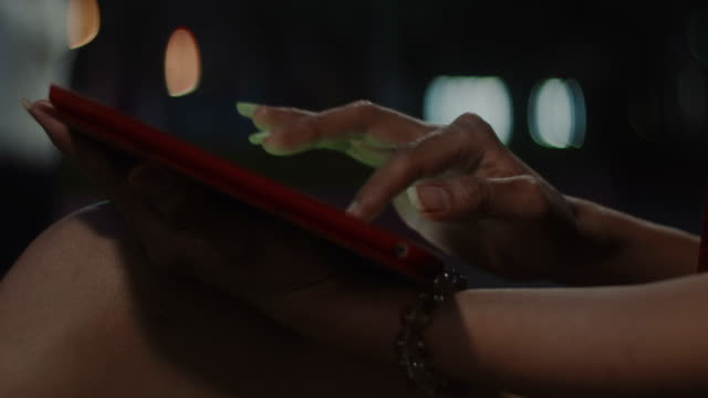 close up woman hand typing on pad video