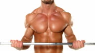 Close up young muscular man bodybuilder with a bar exercises video