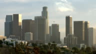 Close view of down town Los Angeles skyline video