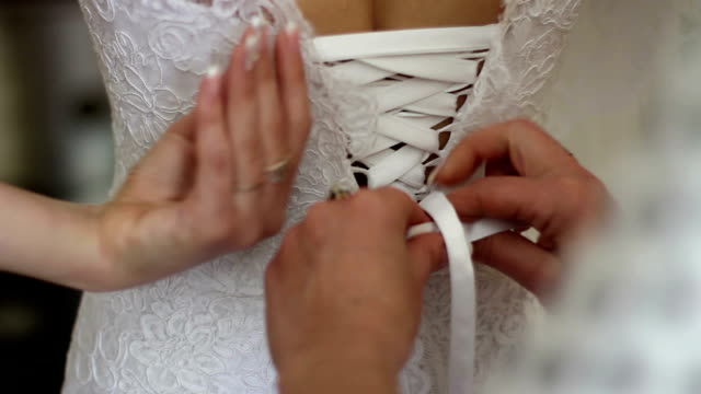 close view of the wedding dress video