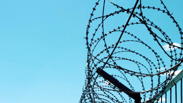 Closed territory behind barbed wire. Regime enterprise. A ban on visiting. Barbed fence video