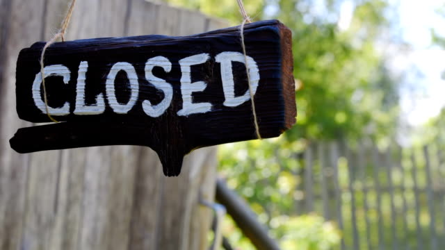 Closed wood sign video
