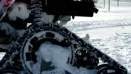 HD STOCK: Closer look at motor sled on the snow video